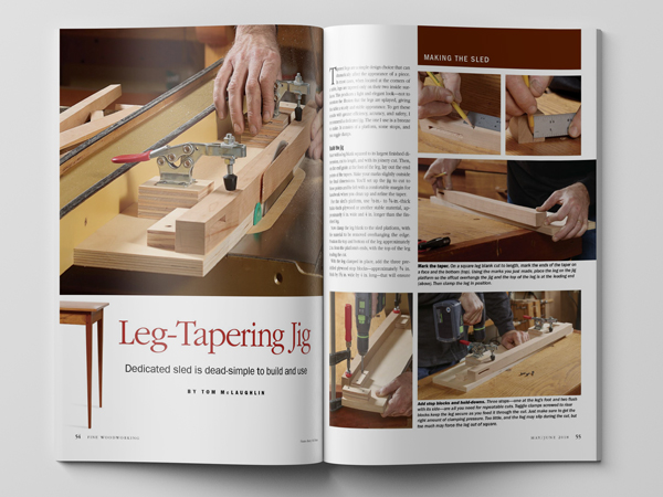 Leg Tapering Jig article from Fine Woodworking Magazine.