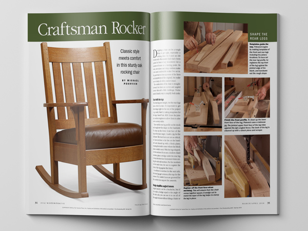 How to make a craftsman rocking chair, from Fine Woodworking magazine.