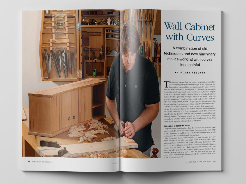 Wall cabinets with curves from Fine Woodworking Magazine.