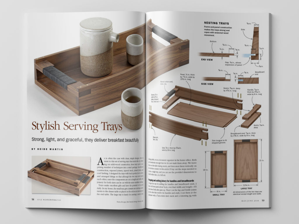 How to make a stylish serving tray, from Fine Woodworking Magazine.